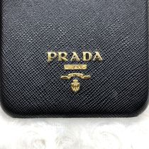 PRADA Unisex Plain Leather iPhone 8 Plus Logo Smart Phone Cases