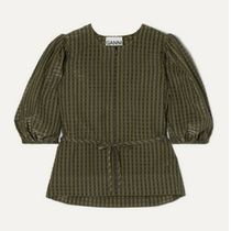 Ganni Other Plaid Patterns Office Style Puff Sleeves