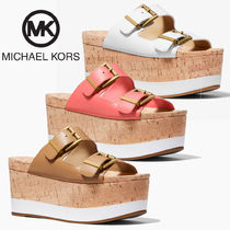 Michael Kors Open Toe Platform Casual Style Leather Elegant Style