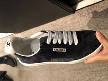 CHANEL Suede Street Style Plain Leather Logo Sneakers