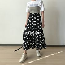 Flared Skirts Dots Casual Style Maxi Pleated Skirts Long