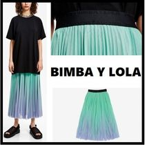 bimba & lola Flared Skirts Casual Style Pleated Skirts Long Office Style