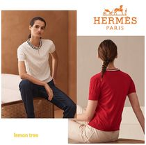HERMES Cashmere Silk Blended Fabrics Medium Short Sleeves