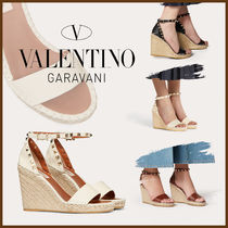 VALENTINO Plain Toe Casual Style Leather Pin Heels Party Style