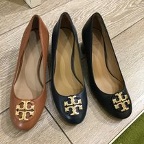 Tory Burch Round Toe Casual Style Plain Leather Block Heels