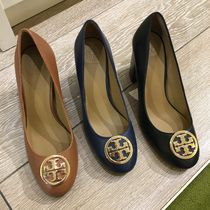 Tory Burch Round Toe Plain Leather Office Style Elegant Style