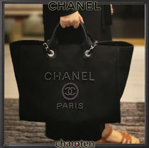 CHANEL DEAUVILLE Casual Style Unisex Calfskin Canvas Blended Fabrics A4 3WAY