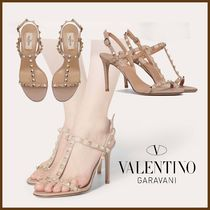 VALENTINO Open Toe Casual Style Studded Leather Pin Heels Party Style