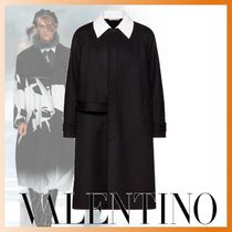 VALENTINO Wool Cashmere Plain Oversized Front Button Coats