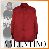 VALENTINO Button-down Long Sleeves Plain Bold Front Button Shirts