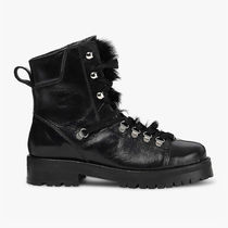 ALLSAINTS Round Toe Rubber Sole Lace-up Casual Style Faux Fur