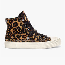 ALLSAINTS Leopard Patterns Round Toe Rubber Sole Lace-up Casual Style