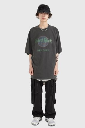 Raucohouse Unisex Street Style Cotton Short Sleeves Oversized Logo