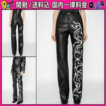 DOLLS KILL Casual Style Faux Fur Long Leather & Faux Leather Pants