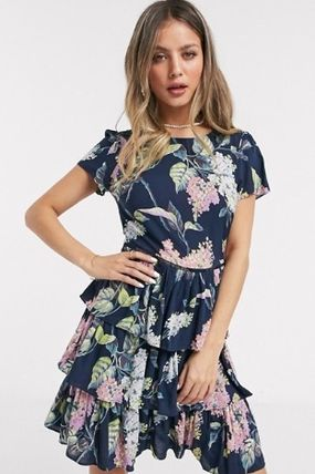 Crew Neck Flower Patterns Medium Short Sleeves Midi