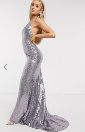 Maxi Sleeveless V-Neck Long Elegant Style Glitter Dresses