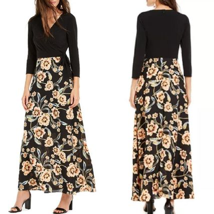 Flower Patterns Maxi A-line V-Neck Cropped Long Party Style