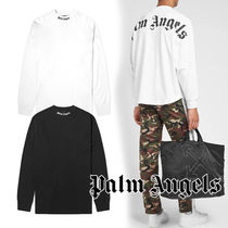 Palm Angels Crew Neck Pullovers Unisex Street Style Long Sleeves Cotton