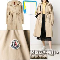 MONCLER Casual Style Plain Long Raincoat Trench Coats