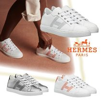 HERMES Stripes Casual Style Plain Leather Logo Low-Top Sneakers