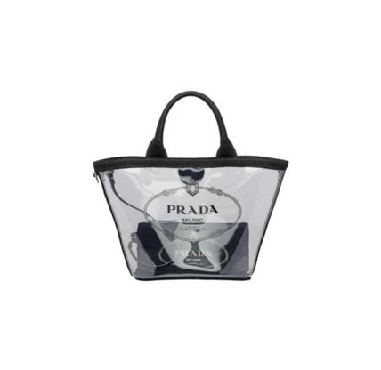 Casual Style Plain Crystal Clear Bags Logo Totes