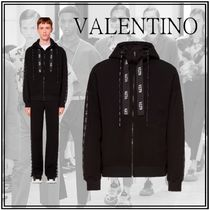 VALENTINO VLTN Street Style Long Sleeves Plain Oversized Logo Hoodies
