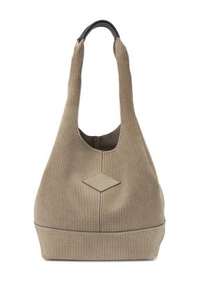 Casual Style Unisex Suede Blended Fabrics A4 Plain Totes