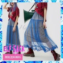 ELF SACK Flared Skirts Other Plaid Patterns Casual Style