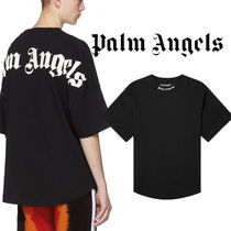 Palm Angels Crew Neck Pullovers Unisex Street Style Cotton Short Sleeves
