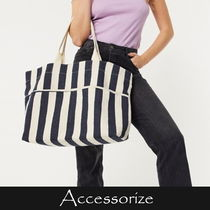 Accessorize Stripes Casual Style A4 Totes