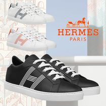 HERMES Stripes Street Style Plain Leather Logo Sneakers