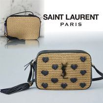 Saint Laurent Nylon Blended Fabrics Tassel Plain Leather Crossbody Logo