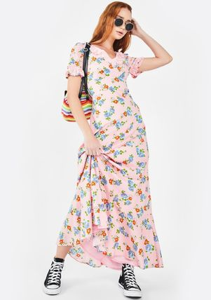 Flower Patterns Maxi V-Neck Cotton Short Sleeves Lace