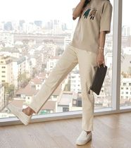 Casual Style Cotton Wide Leg Pants