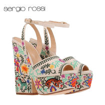 Sergio Rossi Flower Patterns Tropical Patterns Open Toe Platform