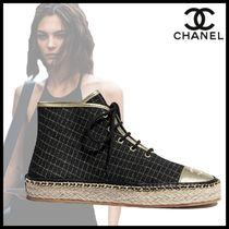 CHANEL Other Plaid Patterns Round Toe Lace-up Casual Style