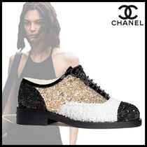 CHANEL Round Toe Casual Style Blended Fabrics Leather With Jewels