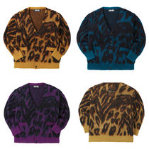 MMIC Leopard Patterns Unisex Nylon Street Style V-Neck