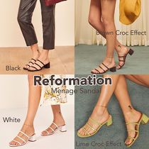 REFORMATION Open Toe Casual Style Plain Leather Block Heels
