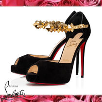 Christian Louboutin Open Toe Platform Casual Style Suede Studded Plain Leather