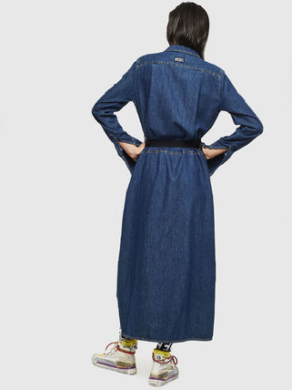 DIESEL Street Style Long Sleeves Plain Cotton Dresses