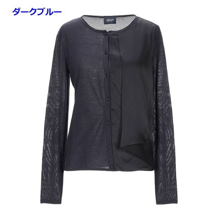 Wool Long Sleeves Plain Elegant Style Front Button Asymmetry