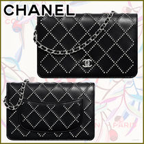CHANEL CHAIN WALLET Other Plaid Patterns Monogram Lambskin Blended Fabrics