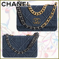 CHANEL CHAIN WALLET Other Plaid Patterns Monogram Denim Blended Fabrics