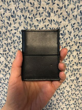 Unisex Plain Leather Small Wallet Logo Card Holders