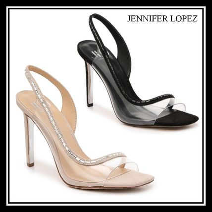 Square Toe Plain Pin Heels Clear Flame Heeled Sandals