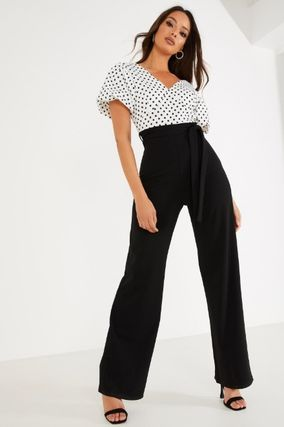 Dungarees Dots V-Neck Party Style Elegant Style Puff Sleeves