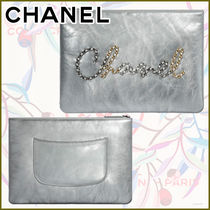 CHANEL Calfskin Blended Fabrics Street Style Chain Leather Glitter