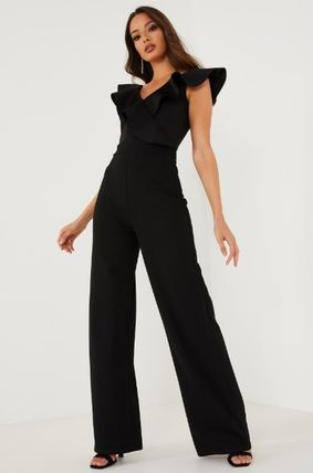 Dungarees V-Neck Party Style Elegant Style Puff Sleeves