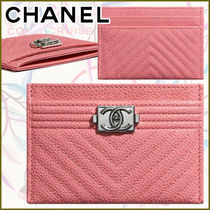 CHANEL BOY CHANEL Calfskin Blended Fabrics Street Style Plain Leather Logo